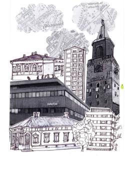 Bidrag till Motborgarbladet nr.9 STADEN illustrerad av Eva Hertzberg.